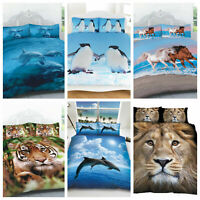 3D Panel Animal Printed Duvet Cover Pillow Cases Quilt Bedding Set In All Sizes