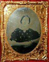 1/9th Size Ruby Ambrotype of Young Lady in half case