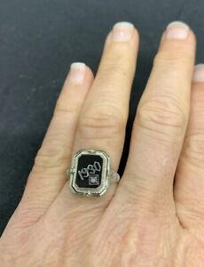 Antique 14K White Gold Art Deco Cameo Onyx Diamond FLIP Reversible Ring. 1930.