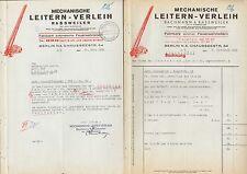 BERLIN N 4, 2 Belege 1938, Mechanische Leitern-Verleih Bachmann & Rassweiler