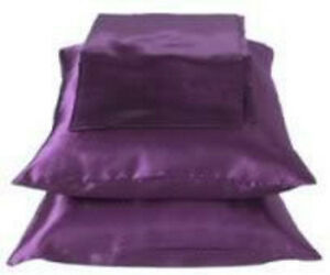 2 Standard / Queen size SATIN Pillow Cases / Covers DARK PURPLE - Brand New