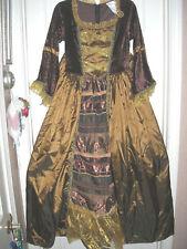 """30"""" Waist Brown Gold Dress w/ Hoop Medium New Women's Gown Reenactment Costume"""