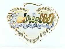 "PERSONALIZED 14K GP 2 1/4"" HEART BAMBOO NAME EARRINGS"