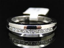 Mens 10K White Gold Princess Cut 1 Row White Diamond Wedding Band Ring 5.5MM 1Ct