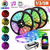 5V USB Power LED Strip Lights 5050 RGB TV Backlight Wireless APP Remote Music