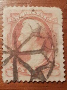 RARE. US 1870 6 Cent Lincoln Carmine Sc#137 Beautiful Cork Cancellation Stamp