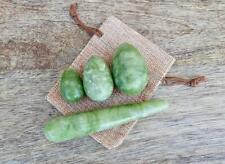 Green Jade Stone Yoni Eggs Set + Massage Wand Healing Crystal Natural Gemstone
