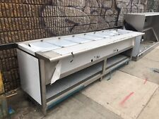 "Stainless Steel Steam Table 120"" 9 Pans 2 Burners 40,000 BTU - NSF Approved"