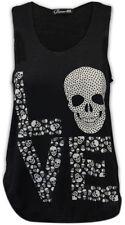 Waist Length Cotton Skull T-Shirts Unbranded for Women