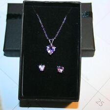 Purple Amethyst Heart Stud Earring Pendant Necklace Jewelry Set Chain 18 Inch