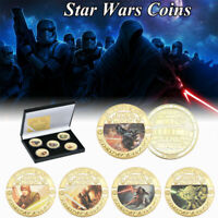 5pcs Star Wars Gold Collection Coin Darth Vader Han Solo Yoda Kylo Ren With Box