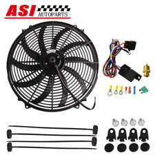"16"" ELECTRIC THERMO FAN +MOUNTING KIT PULL PUSH CURVED RADIATOR fan+RELAY"