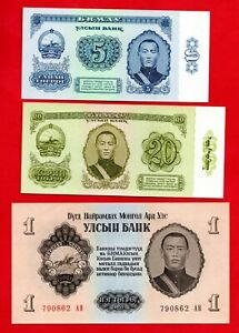 3 X MONGOLIA BANKNOTES IN MINT CONDITION. 3 NOTES.