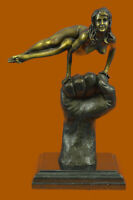 "SIGNED, PURE BRONZE STATUE, ""NUDE IN HAND"", FIGURE SCULPTURE ART FIGURINE FIGURE"