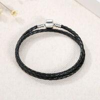 925 Sterling Silver Black Leather Cord Solid 925 Sterling Silver Lock Bracelet