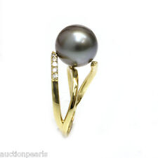 Diamond Tahitian Pearl Ring 18kt Gold 11mm