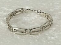 "Vtg Dobbs of Boston Solid Sterling Silver Open Weave Link 7"" Bracelet 925 Italy"