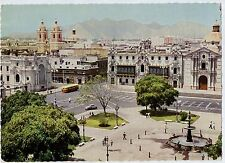 D9885cgt Lima Peru Plaza de Arma Posted RMS Queen Mary Last Cruise 1967 postcard