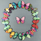 50Pcs Mixed Bulk 2 Holes Butterfly Shape Wooden Sewing Buttons Scrapbooking US