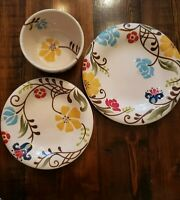 Vida Eva Mendes Jardine For Espana 3 Piece Set Salad Dinner Plate cereal bowl