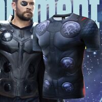 Marvel Mens Superhero T-shirts Thor Cosplay Sport Gym Tee Workout Costume S-3XL