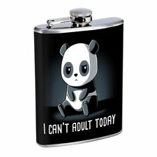 Panda Adult Em1 Flask 8oz Stainless Steel Hip Drinking Whiskey
