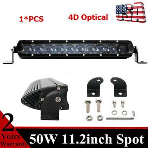 1X 11''inch 50W LED Work Light Bar Spot 4D Lens Single Row Lamp Offroad Chevy