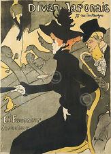 Le Divan Japonais by Henri de Toulouse Lautrec Vintage Print Poster 19x13