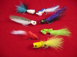 7 Salt Water Poppers,  Salt Water Popper Lot, Popper Flies, Garthside Gurgler,
