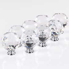 8x50mm Diamond Wardrobe Cabinet Furniture Clear Crystal Door Knobs Handles Glass