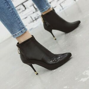 Womens Fashion Sexy Pointy Toe Back Zipper Patent leather Ankle Boots C502