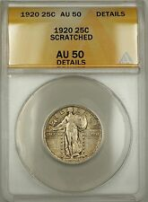 1920 Standing Liberty Silver Quarter 25c Coin ANACS AU-50 Details Scratched