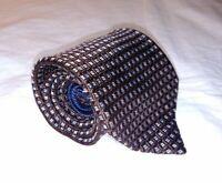 Tommy Hilfiger Mens Necktie Tie Brown Blue White Geometric Squares 100% Silk