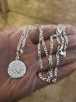 "925 Sterling Silver Azteca Maya Calendar Pendant W/ Necklace 24""chain"