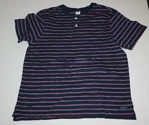 Used Boys Janie And Jack 10 Year Henley Navy Blue Red Stripes Soft Top Shirt