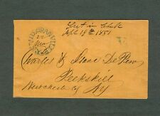"""MID GRANVILLE NY Blue CDS & Roman """"V"""" for five cent rate on March 22,1851 cover"""