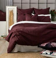 Renee Taylor Stone Washed French Linen Plum Quilt Duvet Doona Cover Set