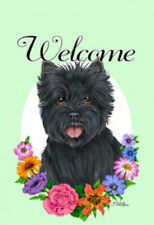 Welcome Flowers House Flag - Black Cairn Terrier 63081