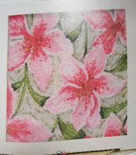 'PINK STARGAZER LILIES FLOWERS' CROSS STITCH CHART BY JULIA HAWKINS (D84)