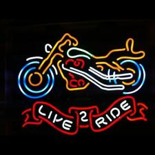 """Motorcycle Live 2 Ride Neon Sign Store Beer Bar Pub Real Neon Light24""""X20""""K550"""