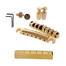 6 String Roller Bridge Set 43MM Brass Slotted Nut for Electric Guitar Gold