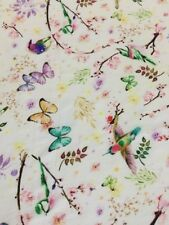 100% Mulberry Silk Scarf Crepe de Chine Birds & Flowers 🇦🇺 Crafted 51x132cm