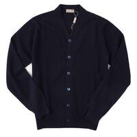 NWT $900 CRUCIANI Navy Blue Extrafine Cashmere Cardigan Sweater XXL (Eu 56)