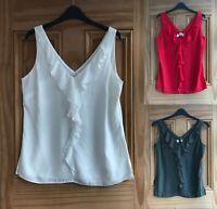 WALLIS New Ivory White Red Khaki Green Frill Ruffle Crepe Vest Top Size 8-18