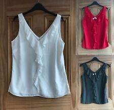 WALLIS New Ivory White Red Khaki Green Frill Ruffle Crepe Vest Top Size 8-18