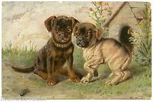ARTIST SIGNED. CHIENS CHIOTS. DOGS. INSECT. INSECTE