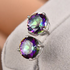 925 Silver Round Mystic Rainbow Topaz Stud Earrings Bride Wedding Jewelry Gifts