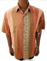 Tori Richard Mens Hawaiian Camp Shirt Cotton Lawn XL Tribal Print Sand Dollar