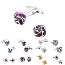 Selection Of Knot Cufflinks Colours Red Blue Purple Silver And Gold Wedding