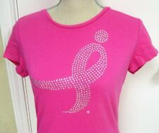 NWOT BREAST CANCER Susan G Komen Small Bling Pink Women's T-Shirt Pink Fitted